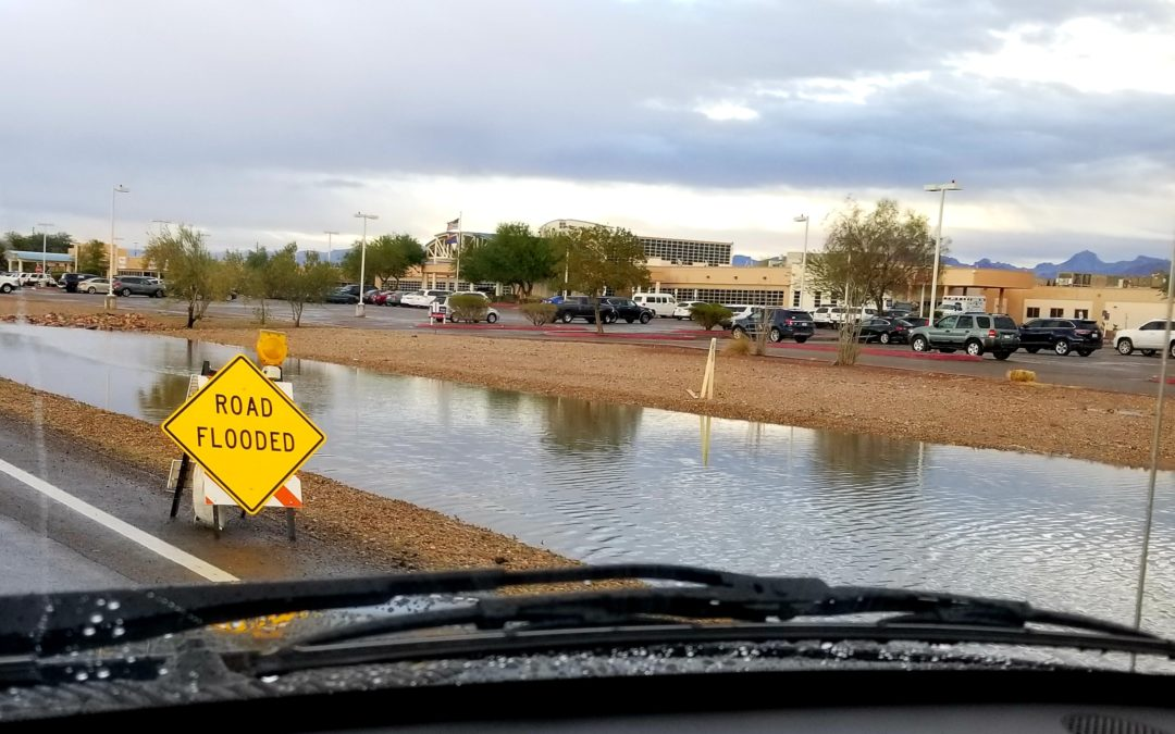 Flooded roads due to rain in San Marcos